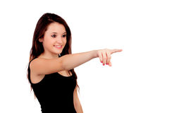 Young teenage girl pointing at something Royalty Free Stock Photography