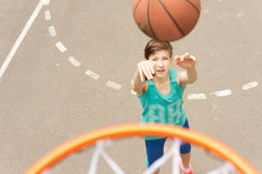 Young teenage girl practicing her basketball Royalty Free Stock Photo