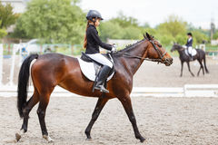 Young teenage girl riding horse on dressage Royalty Free Stock Photo