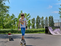 Young teenage girl roller skater Royalty Free Stock Images