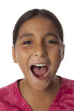 Young teenage girl screaming loud. On white background Royalty Free Stock Photo