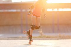 Young teenage girl speed skating on rollerdrome royalty free stock photos