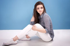 Young teenage girl in studio. Royalty Free Stock Image