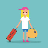 Young teenage girl travelling with her luggage. / flat   illustration Stock Image
