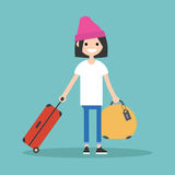 Young teenage girl travelling with her luggage. / flat   illustration Royalty Free Stock Photography