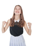 Young teenage girl with yes gesture isolated stock photos