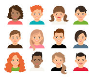 Young teenage girls and boys avatars. Vector teenagers or pupil kids faces. Young teenage girls and boys avatars isolated on white background Royalty Free Stock Photos