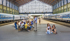 Young teenage girls wait for the train Royalty Free Stock Photos