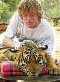 Young man cuddling up close with tiger portrait royalty free stock image