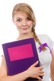Young teenage student with braid holding books Stock Photography