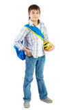 Young Teenager with ball over white Stock Photos