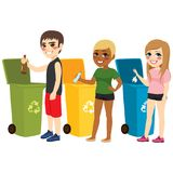 Recycling Waste Sorting. Young teenager boy and girls recycling waste sorting materials paper plastic and glass Royalty Free Stock Photography