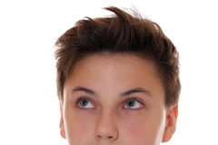 Young teenager boy looking up Stock Image