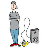 Young teenager dropping the microphone Royalty Free Stock Image