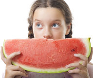 Young teenager girl look with watermelon Stock Image