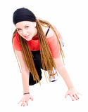 Young teenager girl ready to run over white Royalty Free Stock Photos