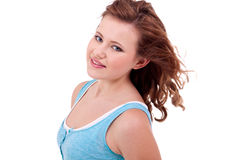 Young teenager girl smiling having fun portrait Stock Photos
