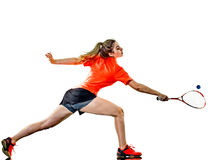 Young teenager girl woman Squash player isolated stock image