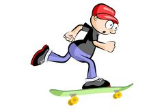 A young teenager isolated on a skateboard Royalty Free Stock Photos