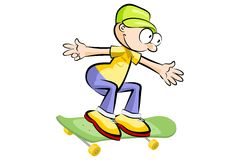 A young teenager isolated on a skateboard Royalty Free Stock Image