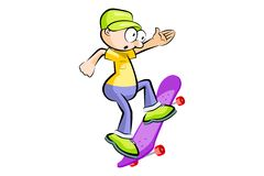 A young teenager isolated on a skateboard Stock Image