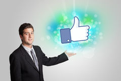 Young teenager with like social media illustration Royalty Free Stock Image