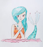 Young teenager mermaid portrait Royalty Free Stock Image