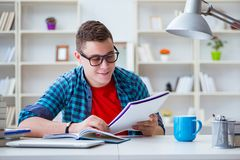 The young teenager preparing for exams studying at a desk indoors Royalty Free Stock Photos
