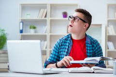 The young teenager preparing for exams studying at a desk indoors Royalty Free Stock Photo