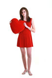 Young teenager with red heart Stock Images