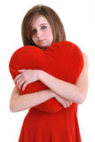 Young teenager with red heart Stock Photos