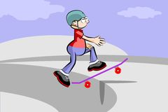 A young teenager on a skateboard Royalty Free Stock Photos