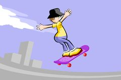 A young teenager on a skateboard Stock Photos