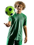 Young teenager soccer player man silhouette  Stock Image