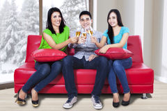 Young teenager toast champagne Royalty Free Stock Photos