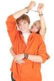 Young teenagers couple in handcuffs Stock Images