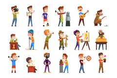 Young teenagers hobby set. Cartoon kids characters. Collecting stamps, football, chess, photography, sports, diving. Young teenagers hobby set. Creative and vector illustration