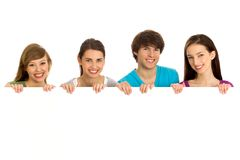 Young teenagers holding copyspace Stock Images