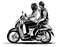 Young teenagers riding scooter. Vector illustration Royalty Free Stock Photography