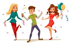 Young teens dancing at party vector illustration of cartoon boys and girls kids characters celebrating birthday or royalty free illustration