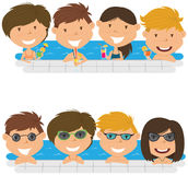 Young teens having fun in outdoor swimming pool. Cheerful girls and boys relaxing and drinking cocktails in the pool. Young teens having fun in outdoor swimming Royalty Free Stock Photo