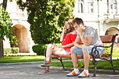 Young teens talking on the mobile phone Royalty Free Stock Photos