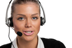 Young telephone operator Stock Photo