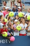 Young tennis fans waiting for autographs at Billie Jean King National Tennis Center Royalty Free Stock Image