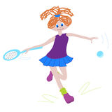 Young tennis girl. Young ginger girl playing tennis isolated vector illustration