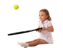 Young tennis player. A little girl plays tennis Stock Image