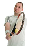 Young tennis player. Serving. Isolated over white Stock Photography