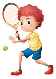 A young tennis player. Illustration of a young tennis player on a white background Stock Photography
