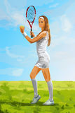Young tennis player woman Royalty Free Stock Images