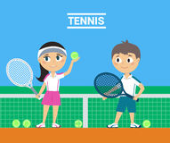 Young Tennis Players. Illustration of Young Tennis Players Stock Image